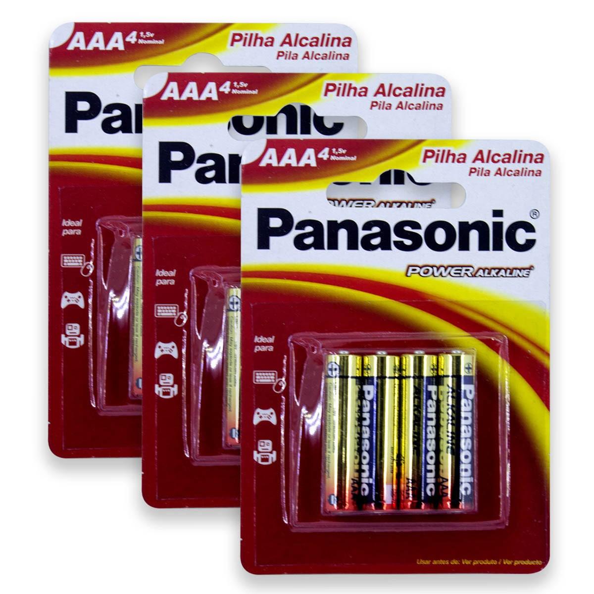 12 Pilhas AAA Alcalina PANASONIC 3 cartelas