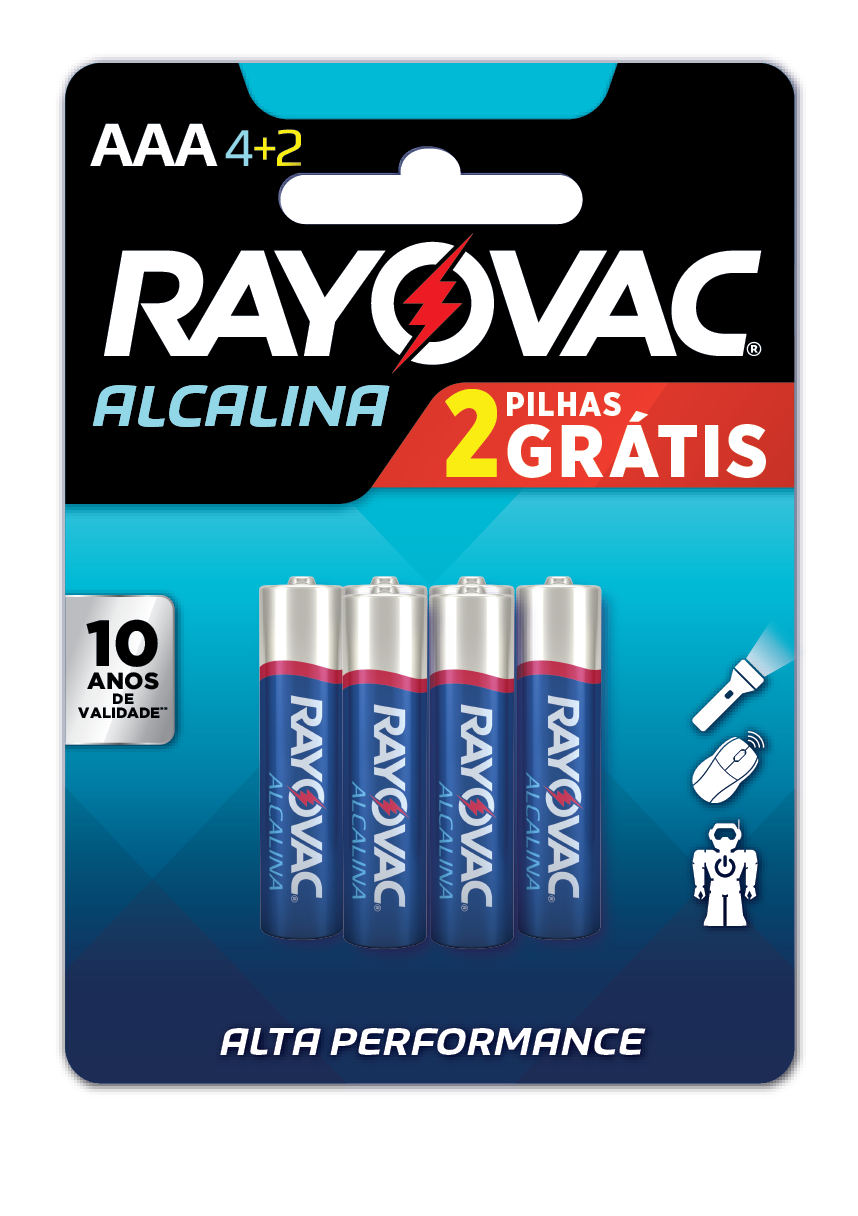 12 Pilhas AAA Alcalina RAYOVAC 2 cart c/ 6 unid