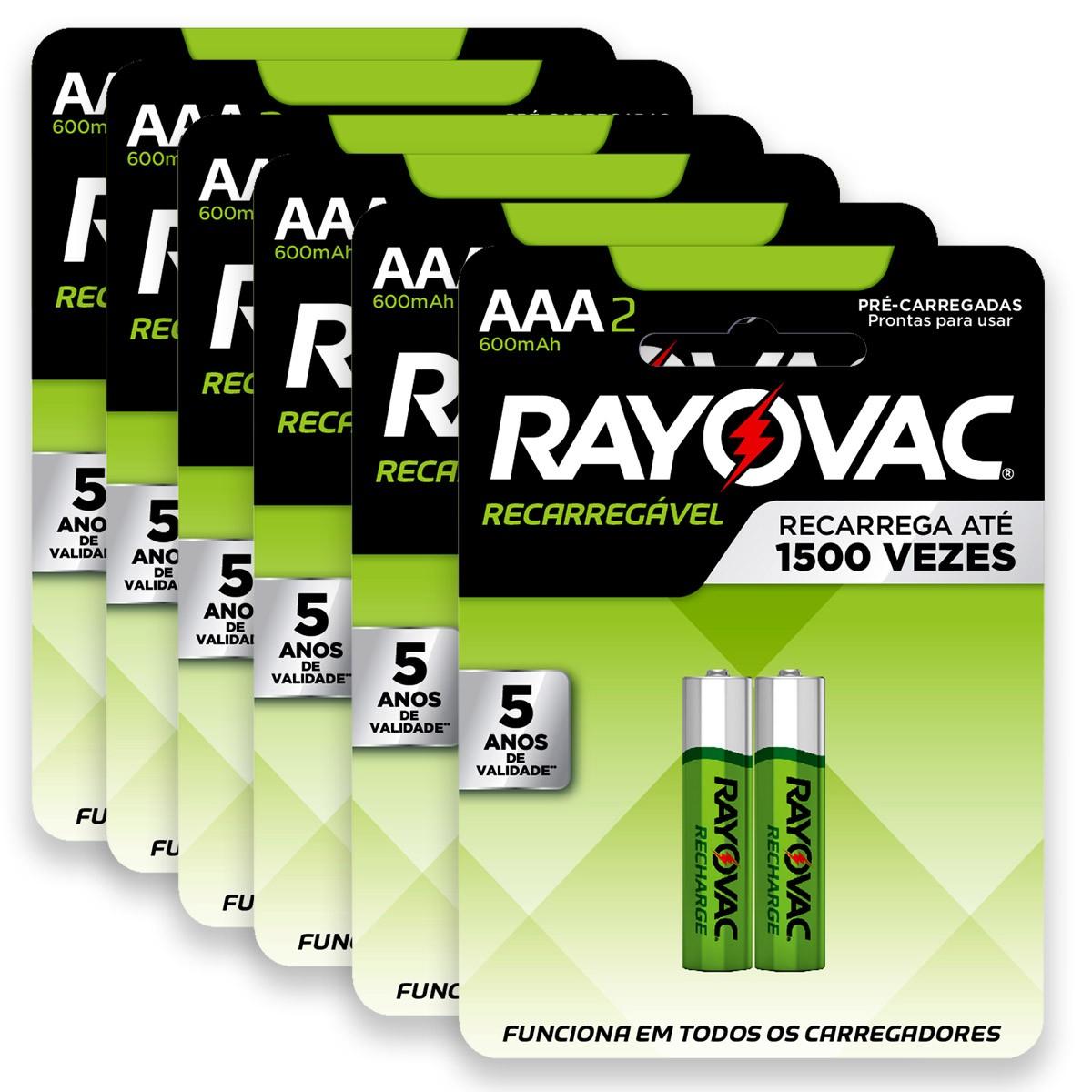 12 Pilhas AAA Recarregável 600mAh RAYOVAC 6 cartelas