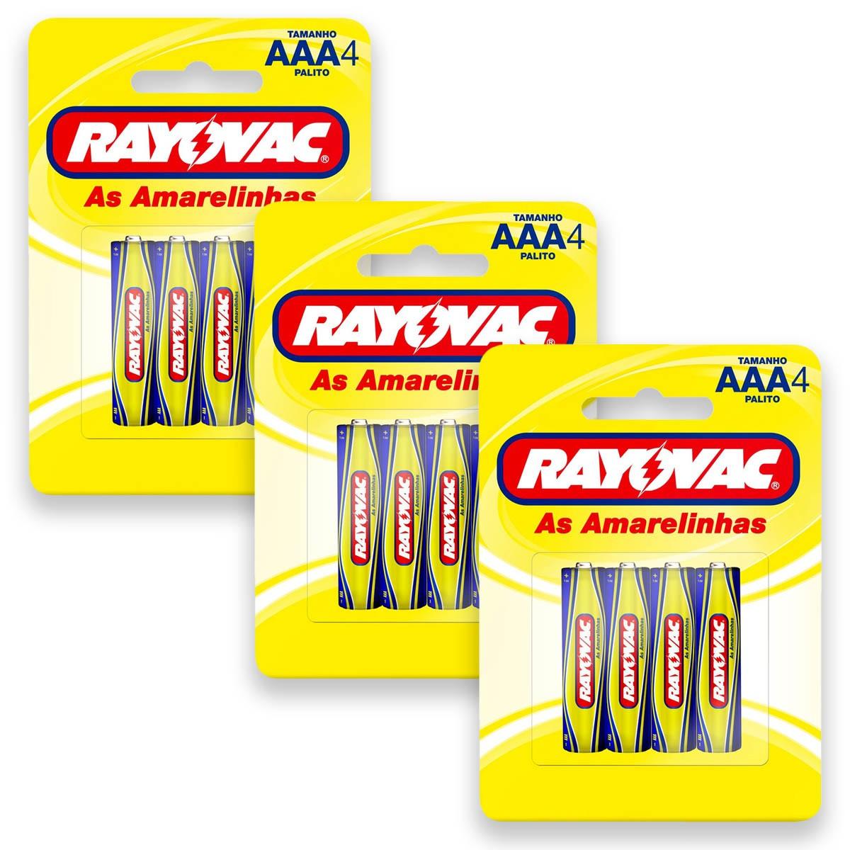 12 Pilhas AAA Zinco Carvão RAYOVAC 3 cartelas