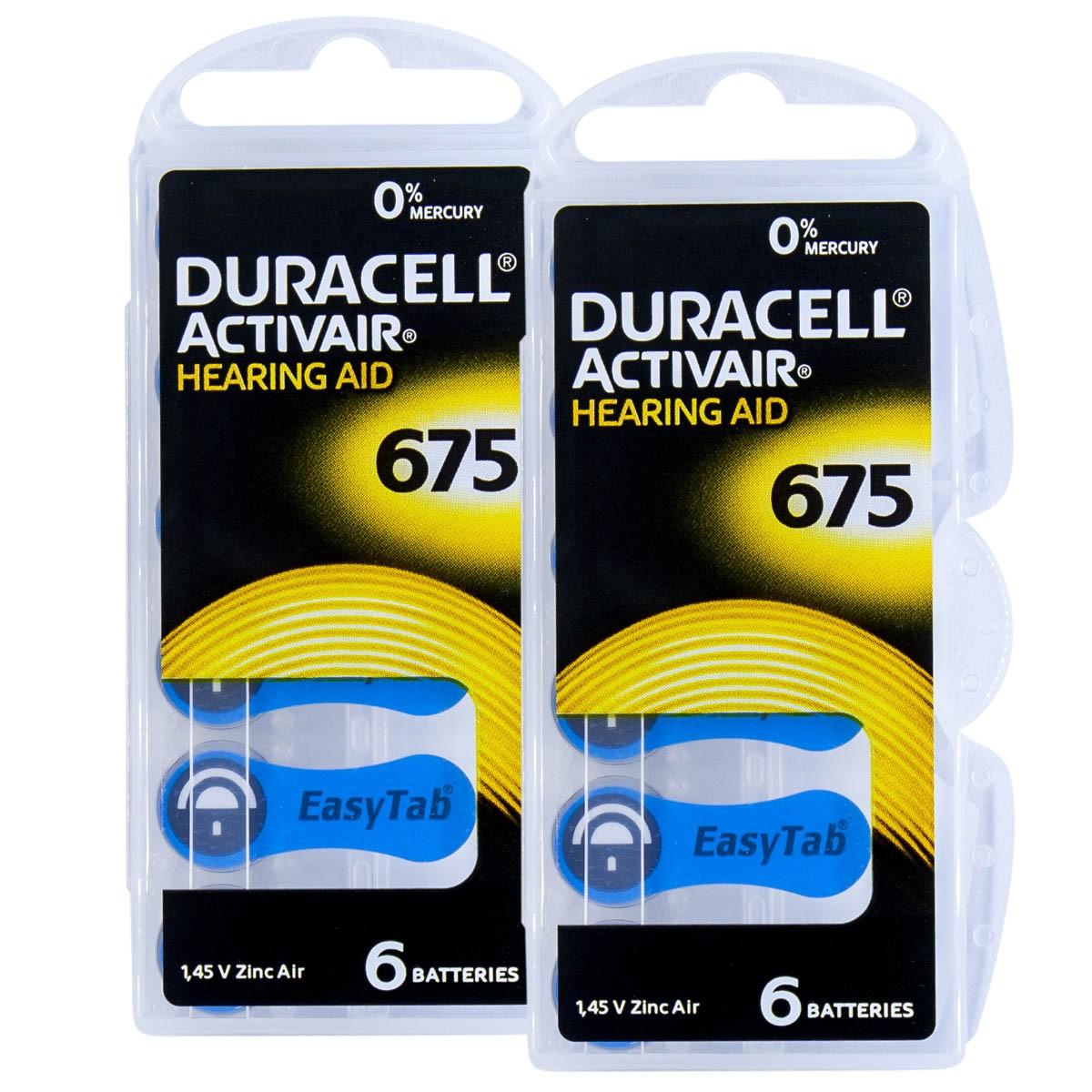 12 Pilhas DA675 DURACELL baterias PR44 Aparelho auditivo