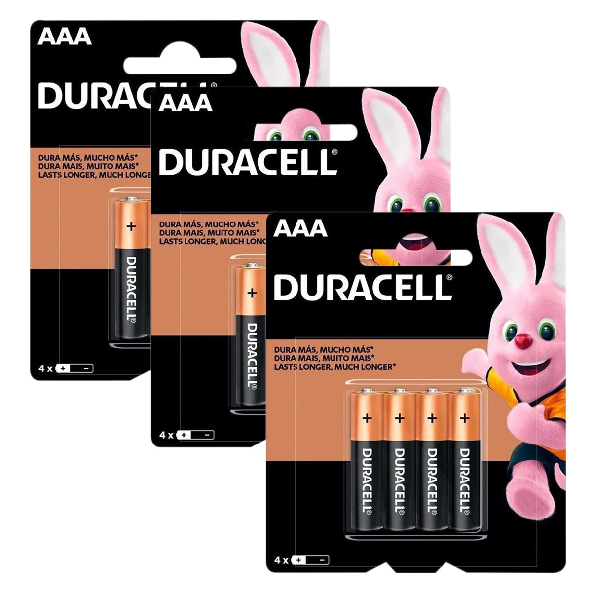 12 Pilhas DURACELL DURALOCK Alcalina AAA Embalagem C/4 Unids