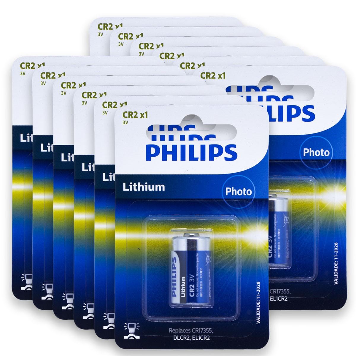 12 Pilhas PHILIPS CR2 3V Bateria 12 cartelas
