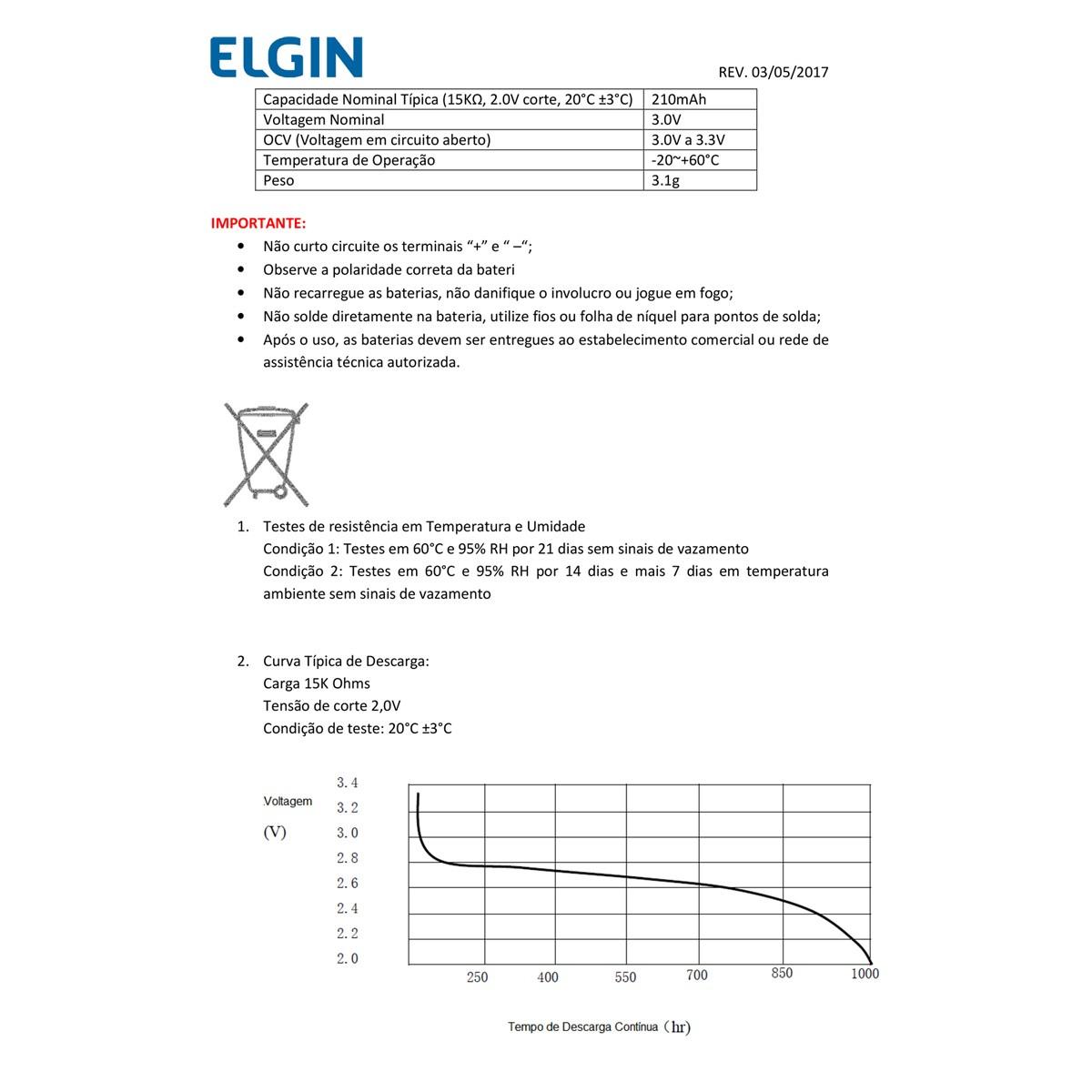 15 Baterias Pilhas 3V Elgin CR2032 3 cartela