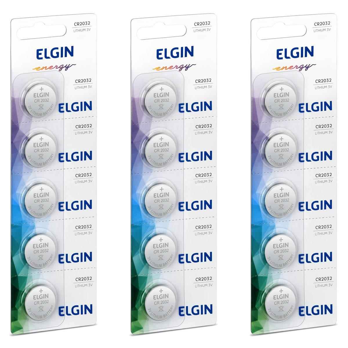 15 Baterias Pilhas 3V Elgin CR2032 3 cartelas