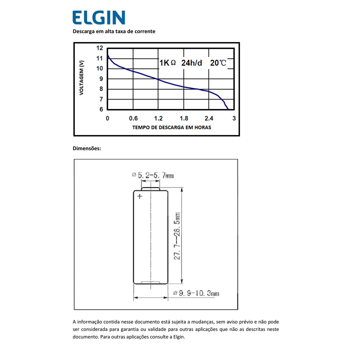 15 Pilhas Baterias ELGIN 23A 12V A23 Alcalina 3 cartelas
