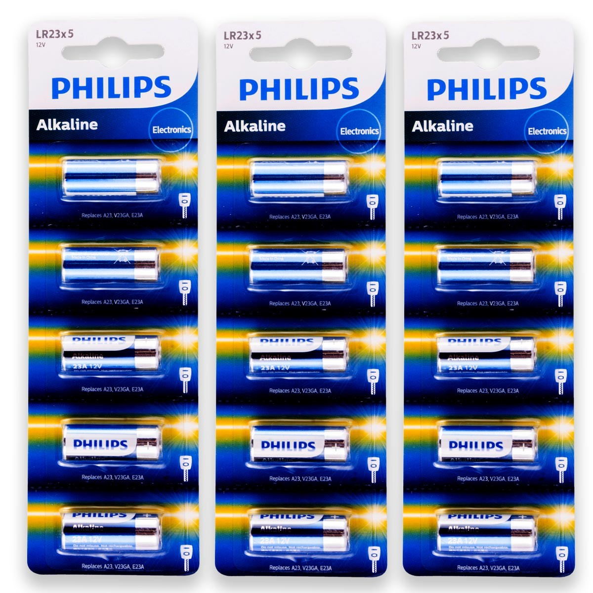 15 Pilhas Baterias PHILIPS 23A 12V A23 Alcalina 3 cartelas