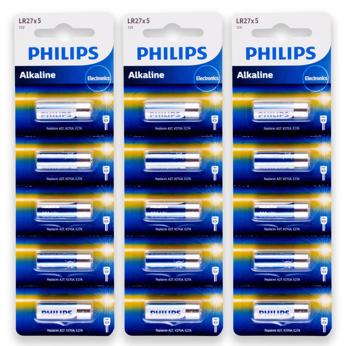 15 Pilhas Baterias PHILIPS 27A 12V A27 Alcalina 3 cartelas