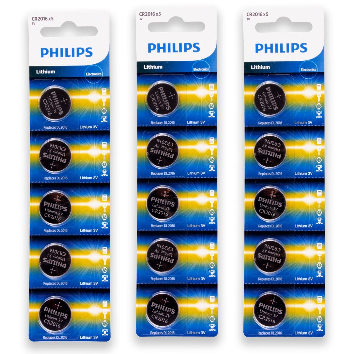 15 Pilhas PHILIPS CR2016 3v Bateria Original - 3 cartelas