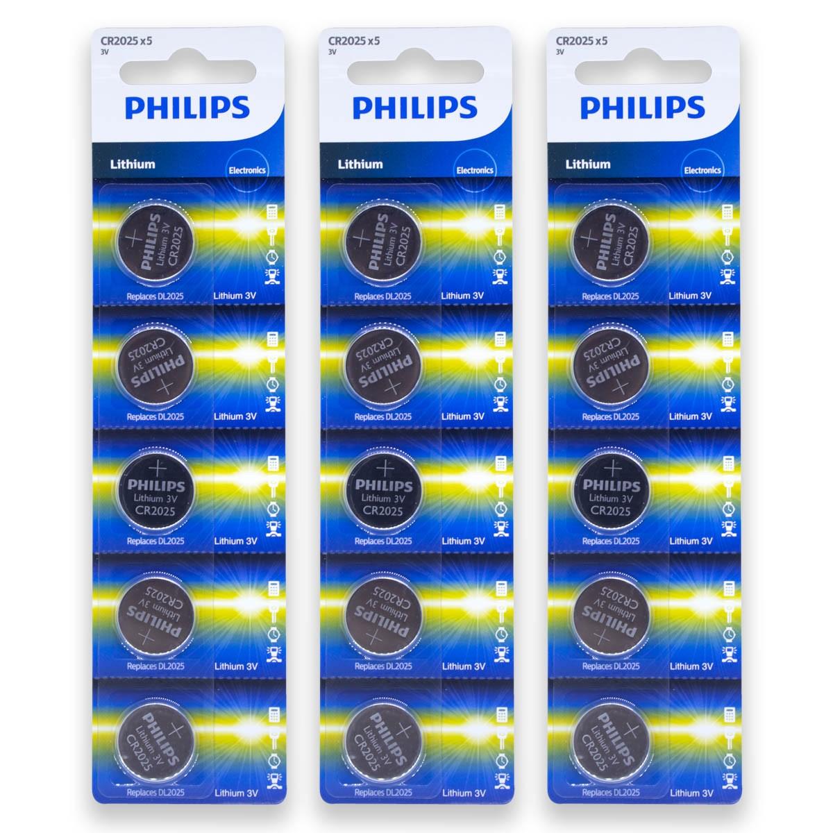 15 Pilhas PHILIPS CR2025 3v Bateria Original - 3 cartelas