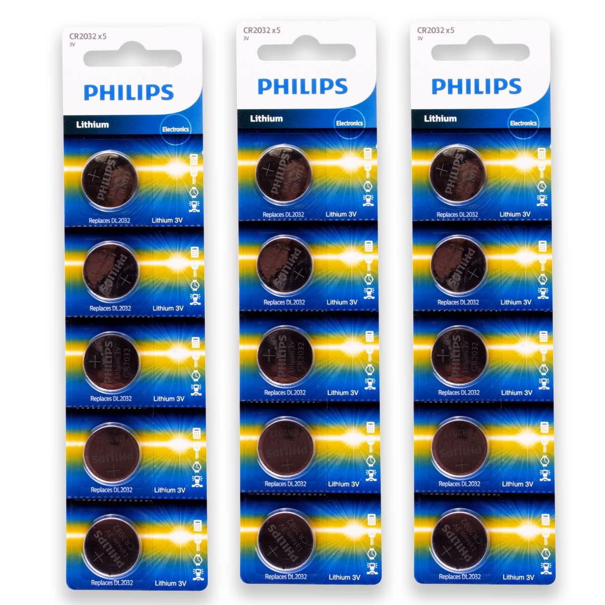 15 Pilhas PHILIPS CR2032 3v Bateria Original - 3 cartelas