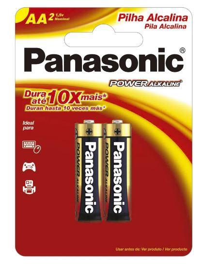 16 Pilhas AA Alcalina PANASONIC 8 cart c/ 2 unid