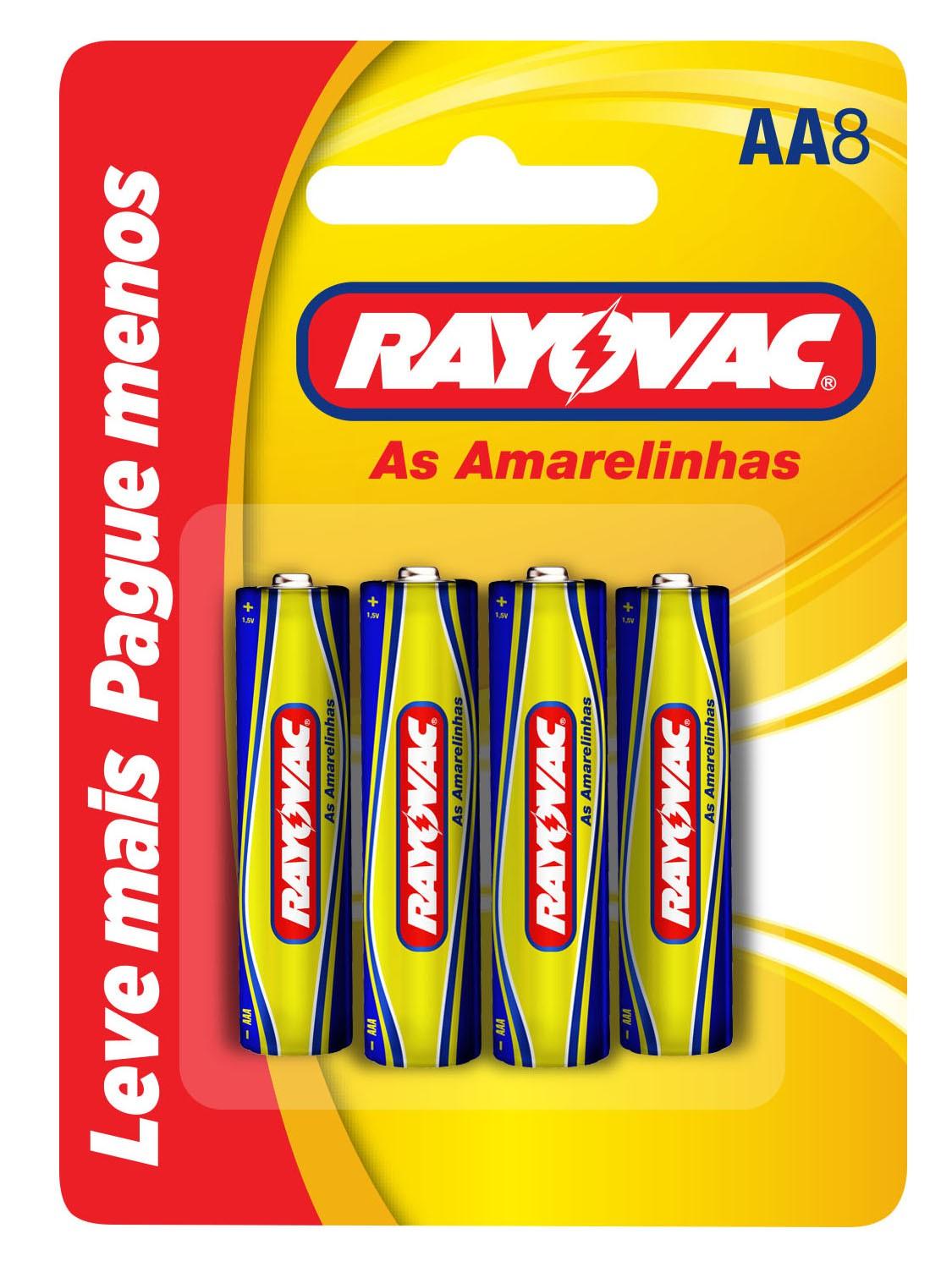 16 Pilhas AA Zinco Carvão RAYOVAC 2 cartelas