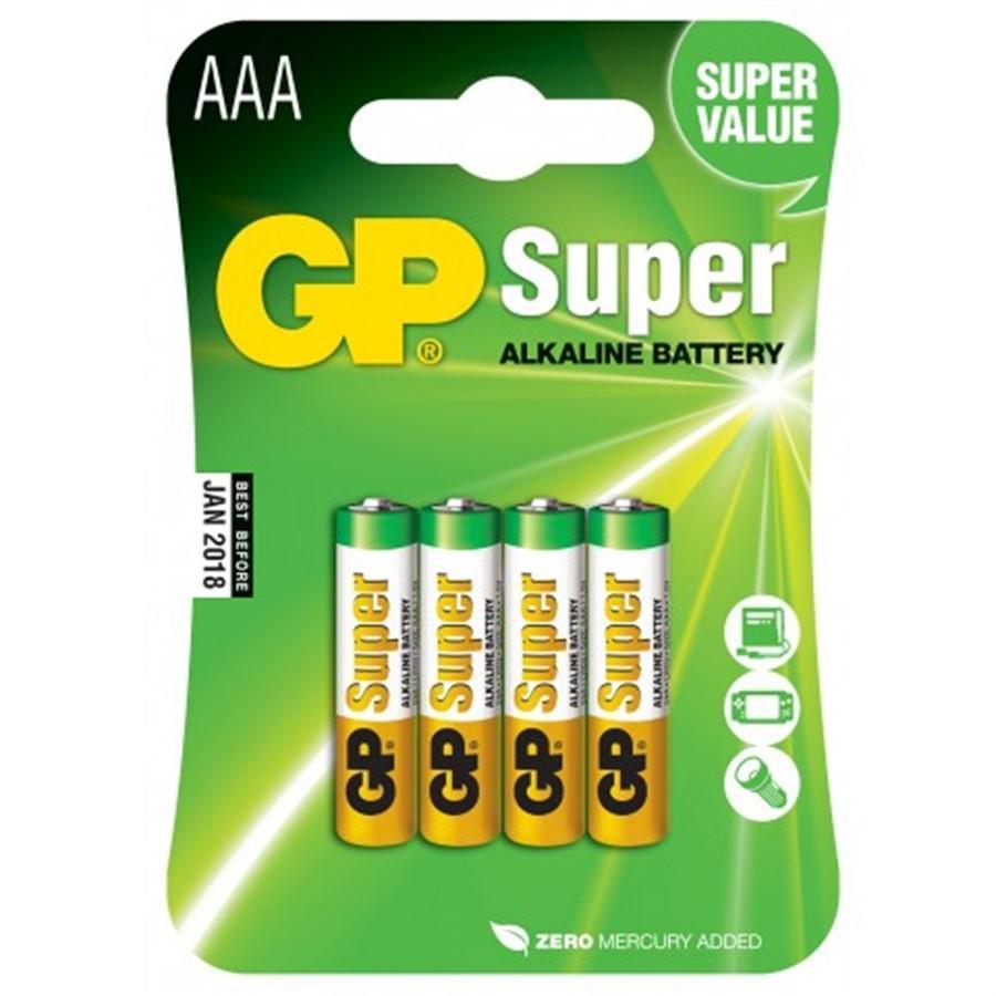 16 Pilhas AAA Alcalina GP Super - 04 cartelas com 4 unidades cada