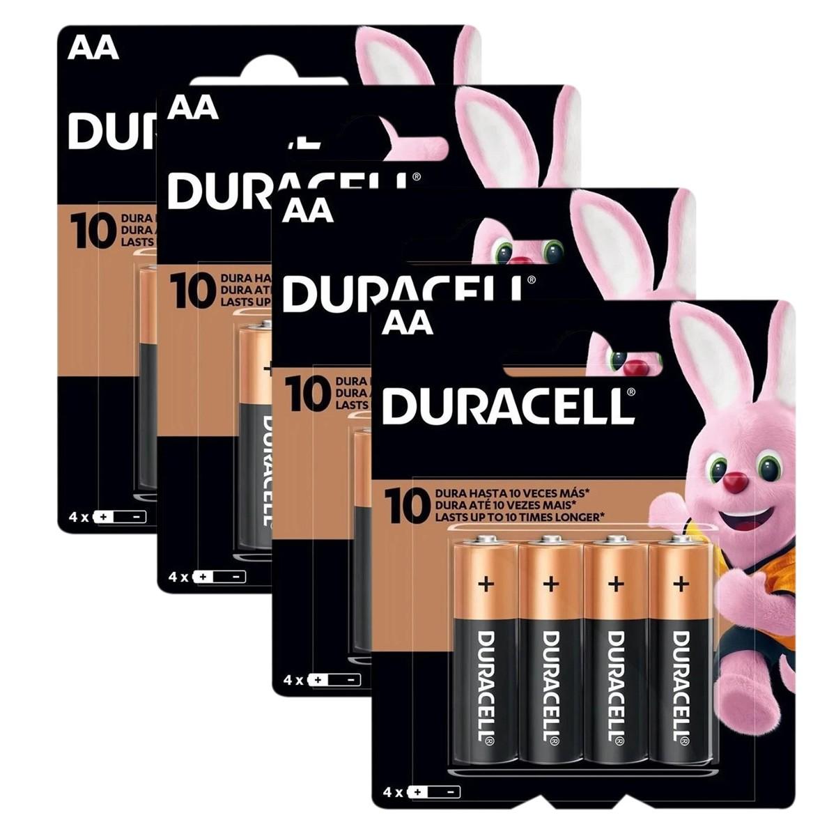 16 Pilhas DURACELL DURALOCK Alcalina AA Embalagem C/4 Unids