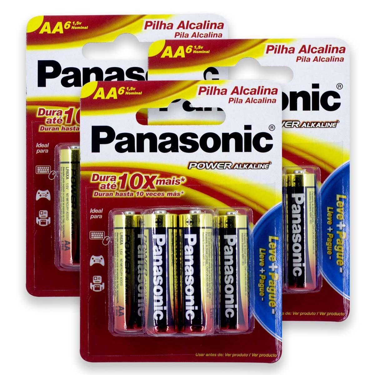 18 Pilhas AA Alcalina PANASONIC 3 cartelas
