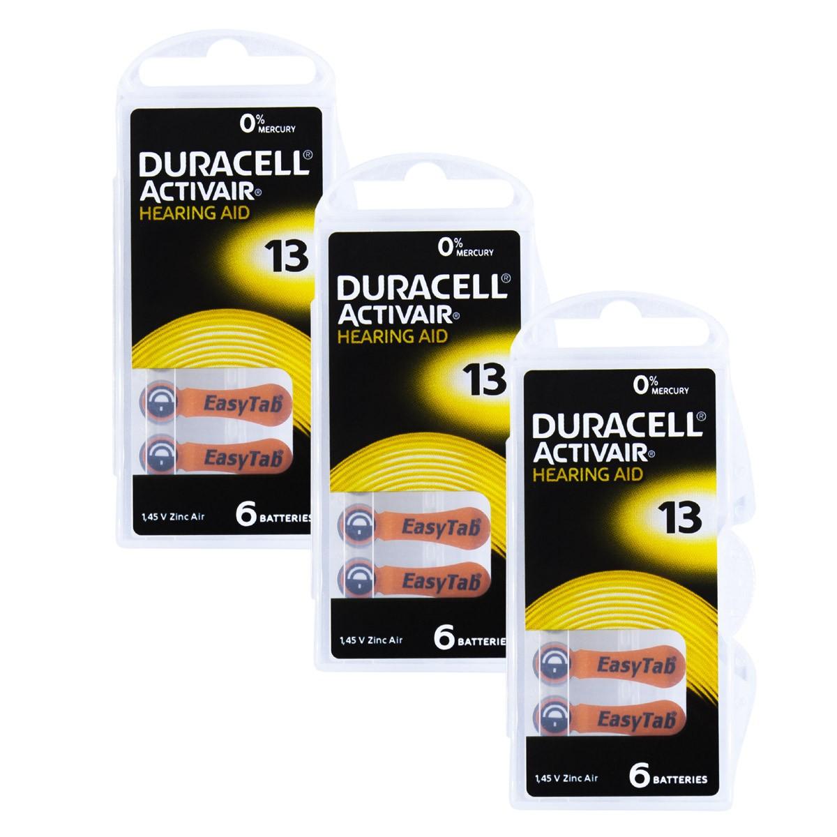 18 Pilhas DA13 DURACELL baterias PR48 Aparelho auditivo