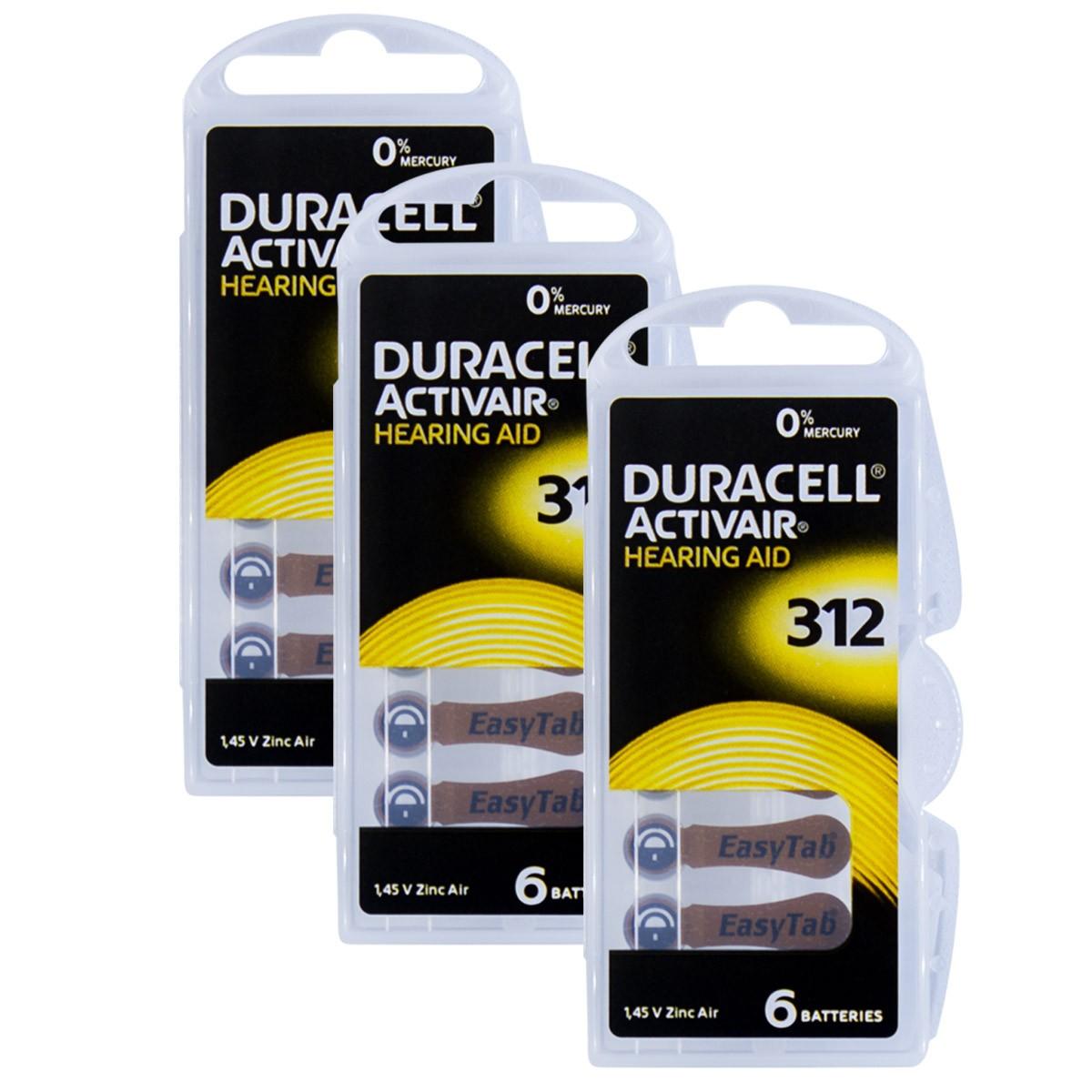 18 Pilhas DA312 DURACELL baterias PR41 Aparelho auditivo