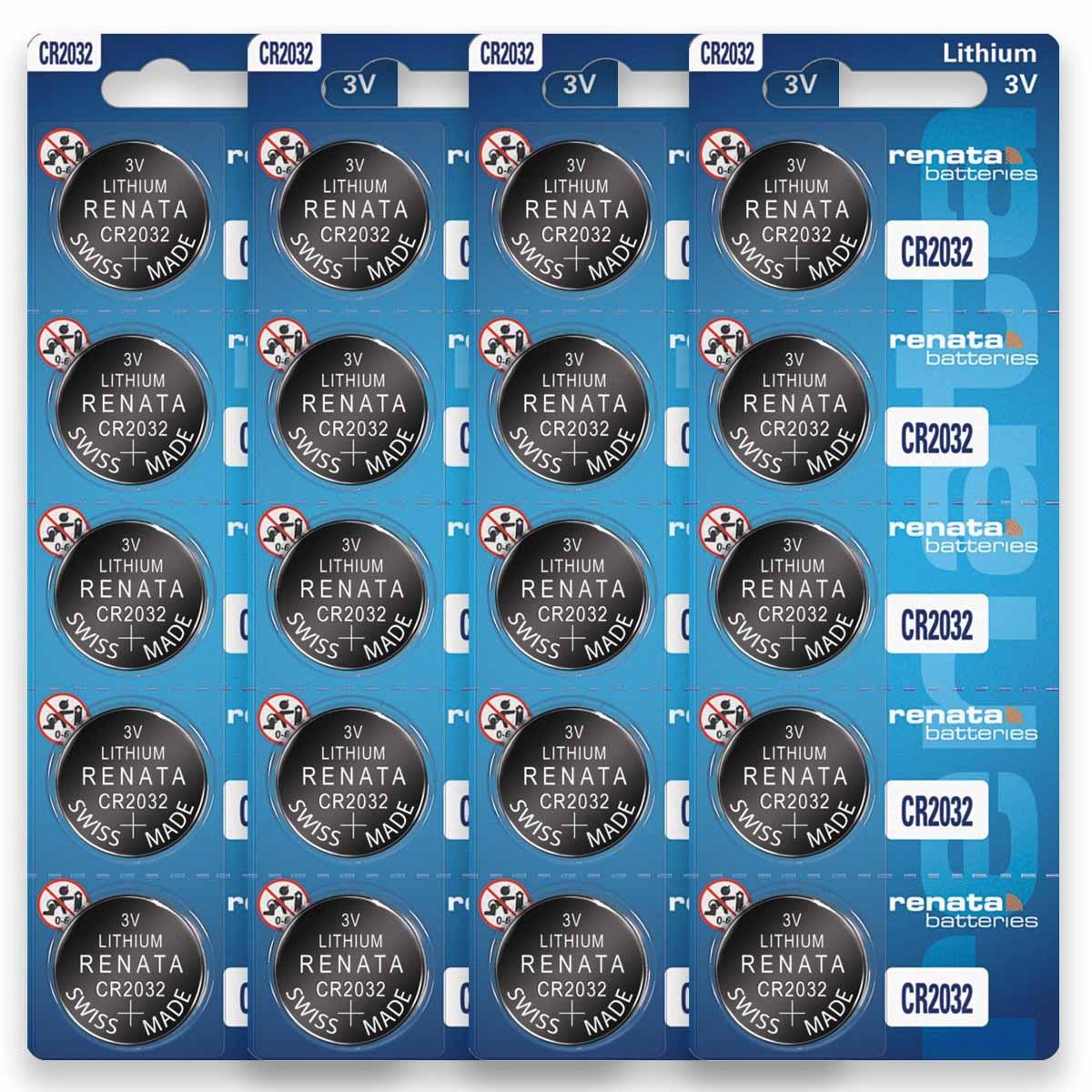 20 Baterias Pilhas Renata CR2032 4 cartelas