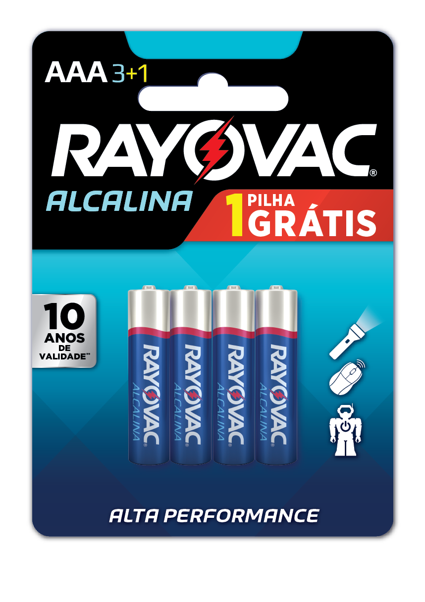 20 Pilhas AAA Alcalina RAYOVAC 5 cart c/ 4 unid