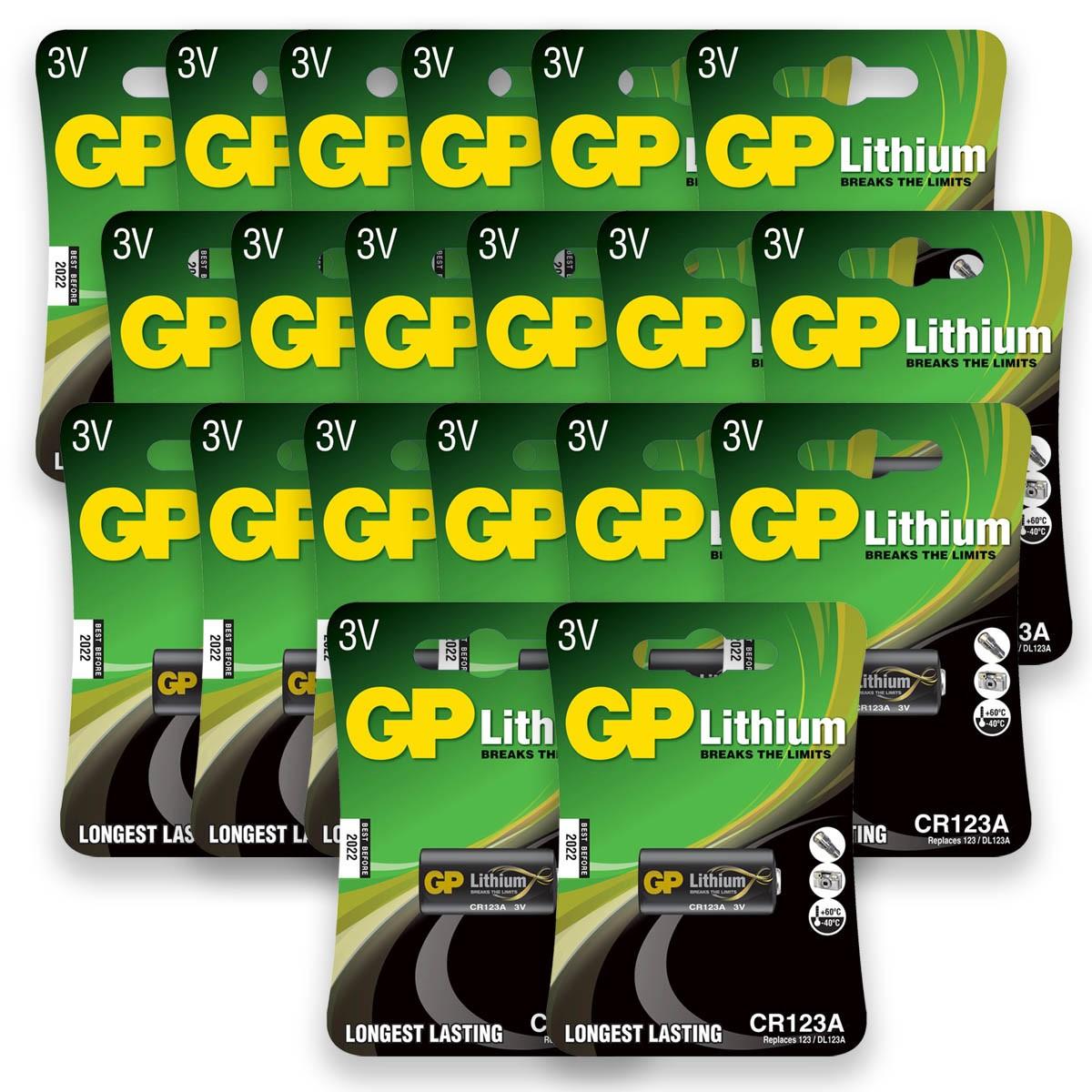 20 Pilhas Bateria CR123A 3V GP 20 cartela