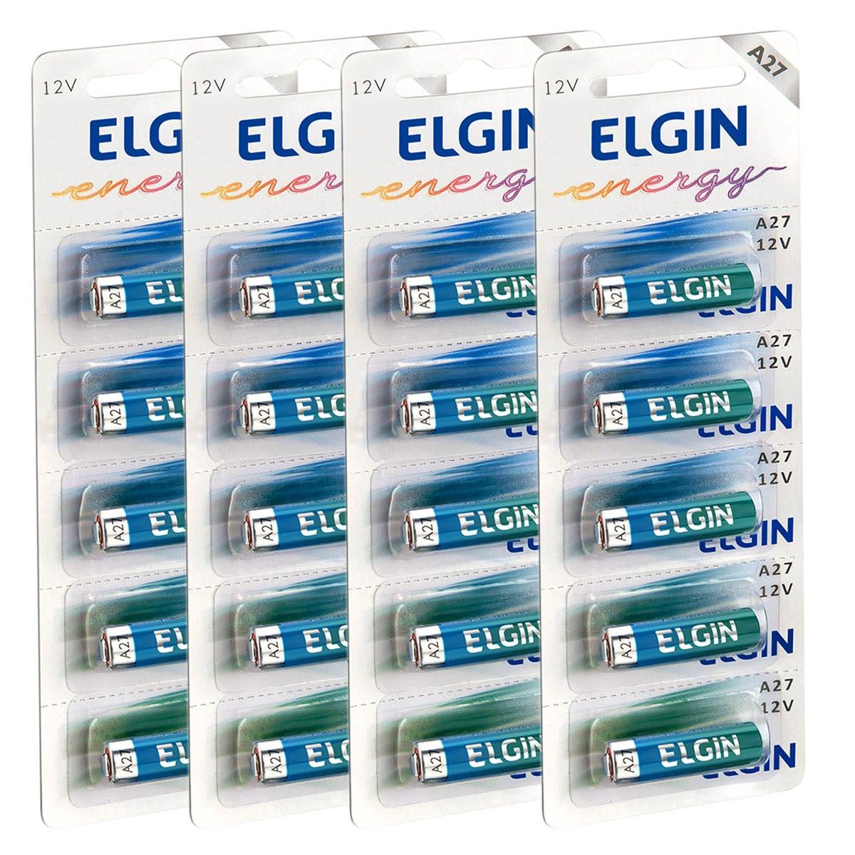 20 Pilhas Baterias ELGIN 27A 12V A27 Alcalina 4 cartelas