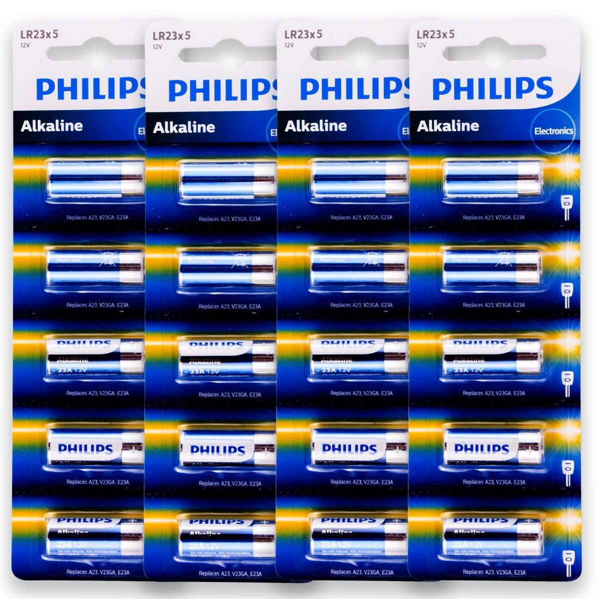 20 Pilhas Baterias PHILIPS 23A 12V A23 Alcalina 4 cartelas
