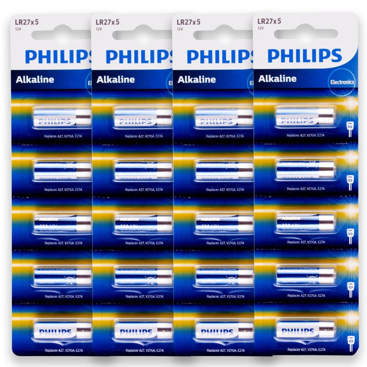 20 Pilhas Baterias PHILIPS 27A 12V A27 Alcalina 4 cartelas
