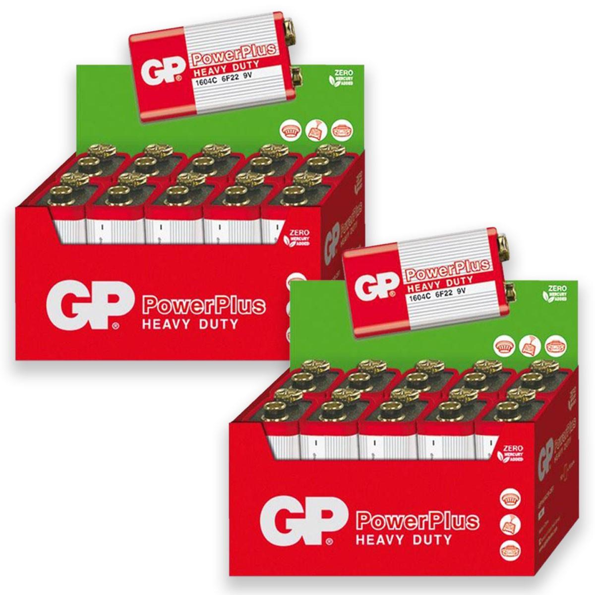 20 Pilhas GP POWERPLUS 9V Bateria Zinco Carvão 2 caixas