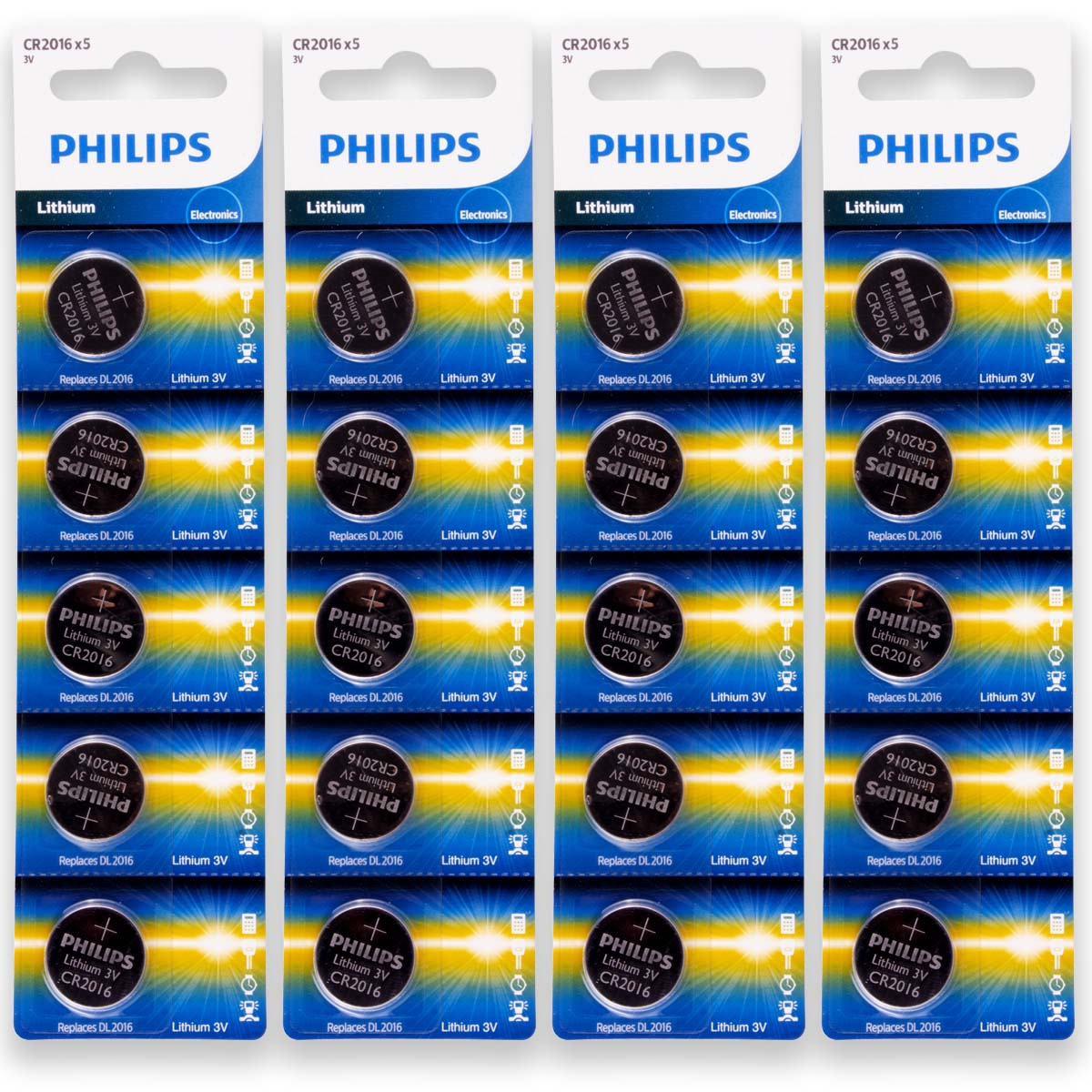 20 Pilhas PHILIPS CR2016 3v Bateria Original - 4 cartelas