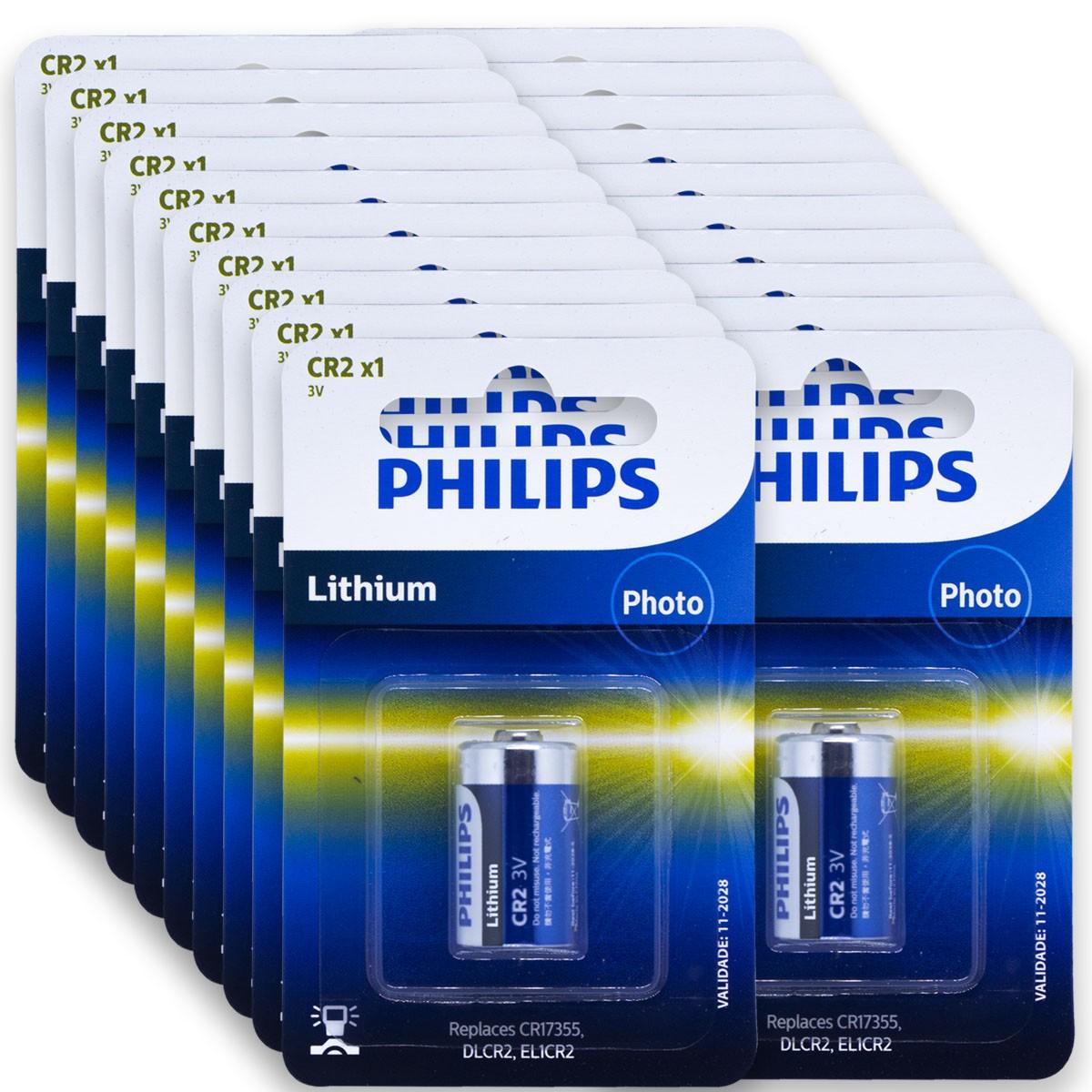 20 Pilhas PHILIPS CR2 3V Bateria 20 cartelas