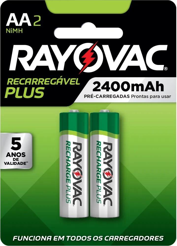 24 Pilhas AA Recarregável 2400mAh RAYOVAC 12 cartelas