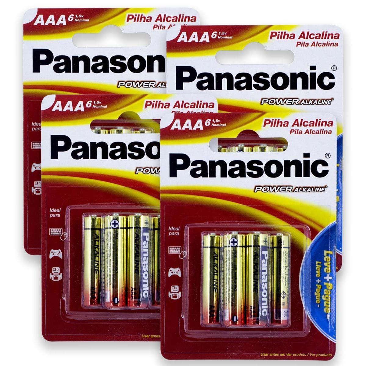 24 Pilhas AAA Alcalina PANASONIC 4 cartelas