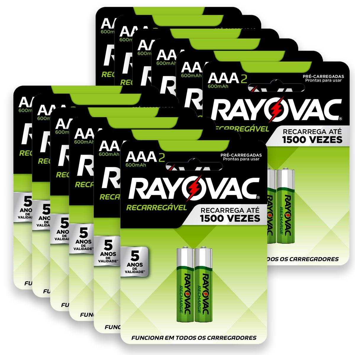 24 Pilhas AAA Recarregável 600mAh RAYOVAC 12 cartelas
