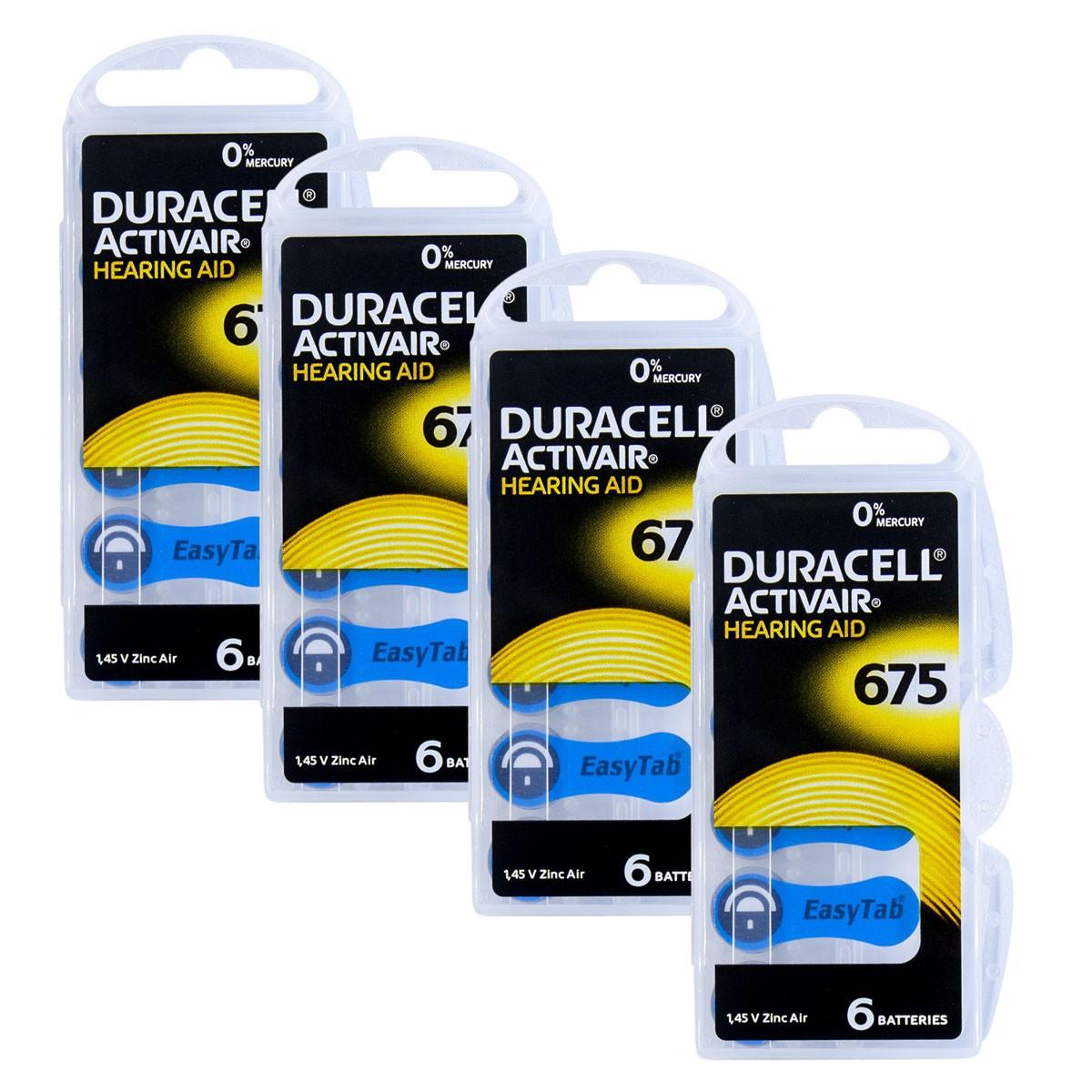 24 Pilhas DA675 DURACELL baterias PR44 Aparelho auditivo