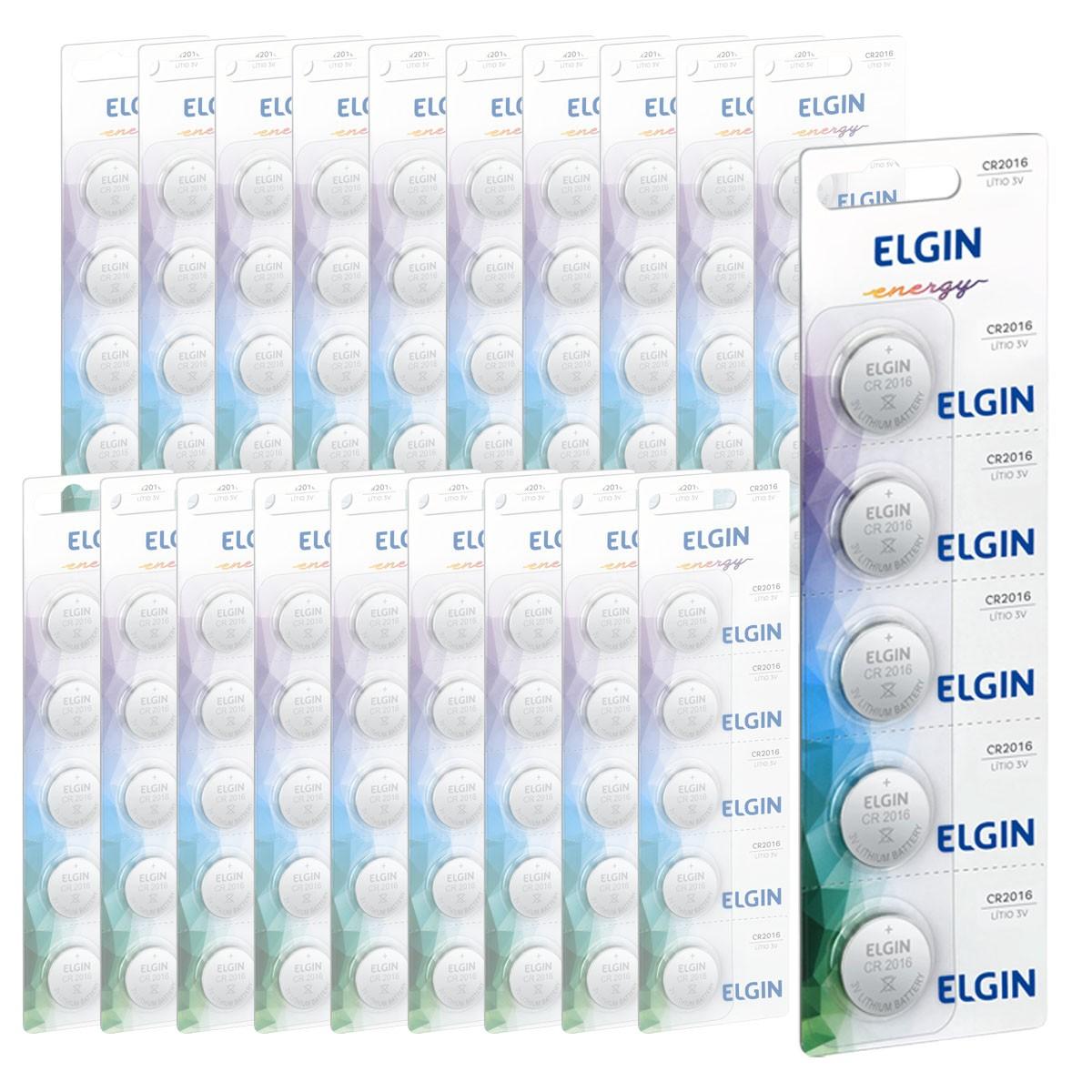 250 Baterias Pilhas Lithium 3V Elgin CR2016 50 cartela