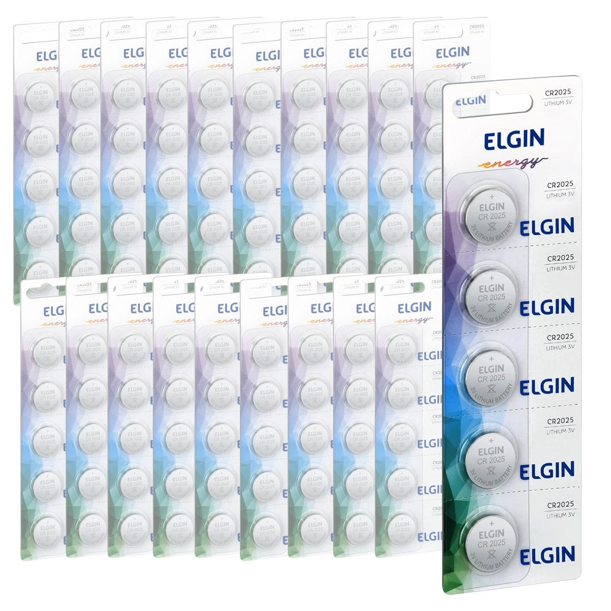 250 Baterias Pilhas Lithium 3V Elgin CR2025 50 cartela