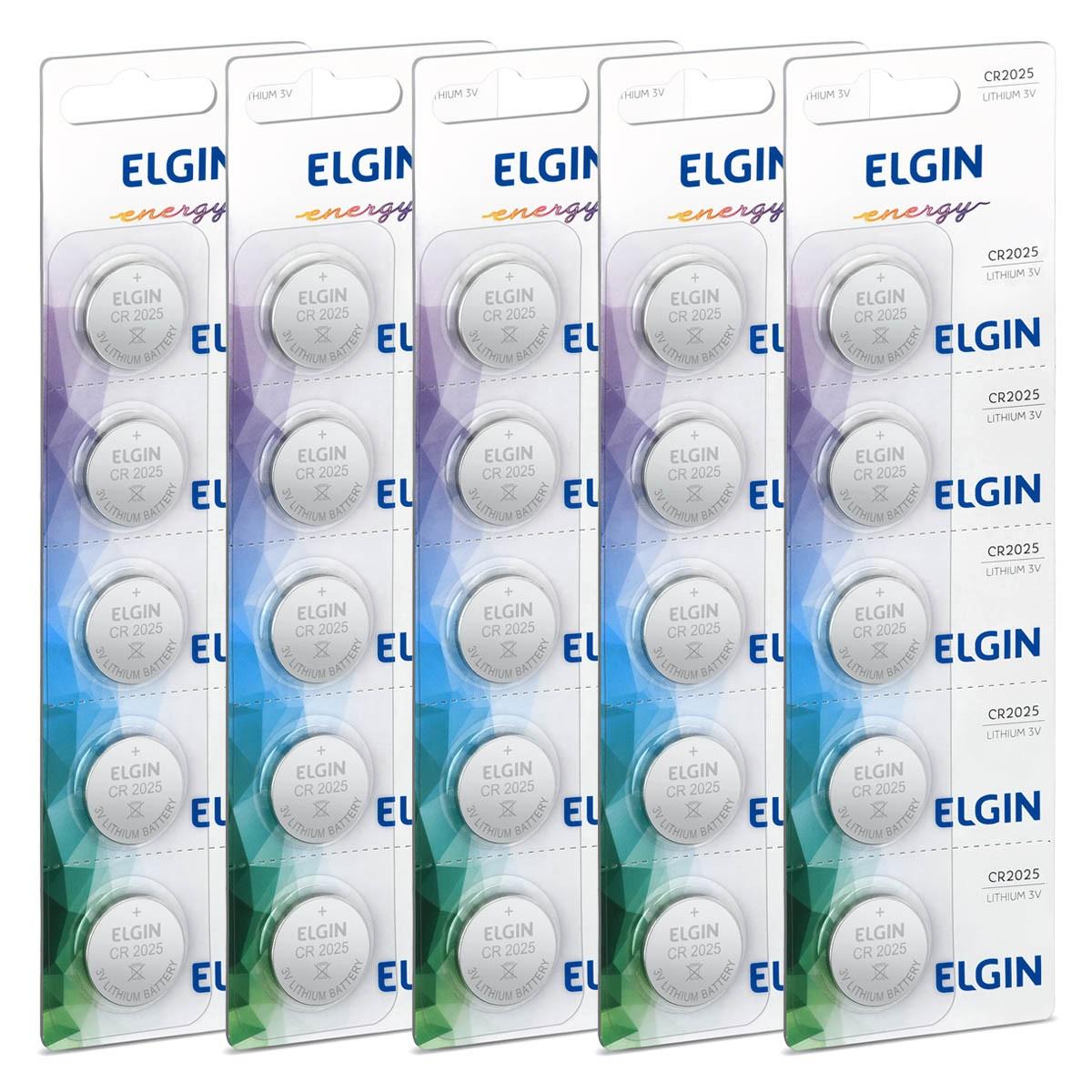 25 Baterias Pilhas 3V Elgin CR2025 5 cartelas