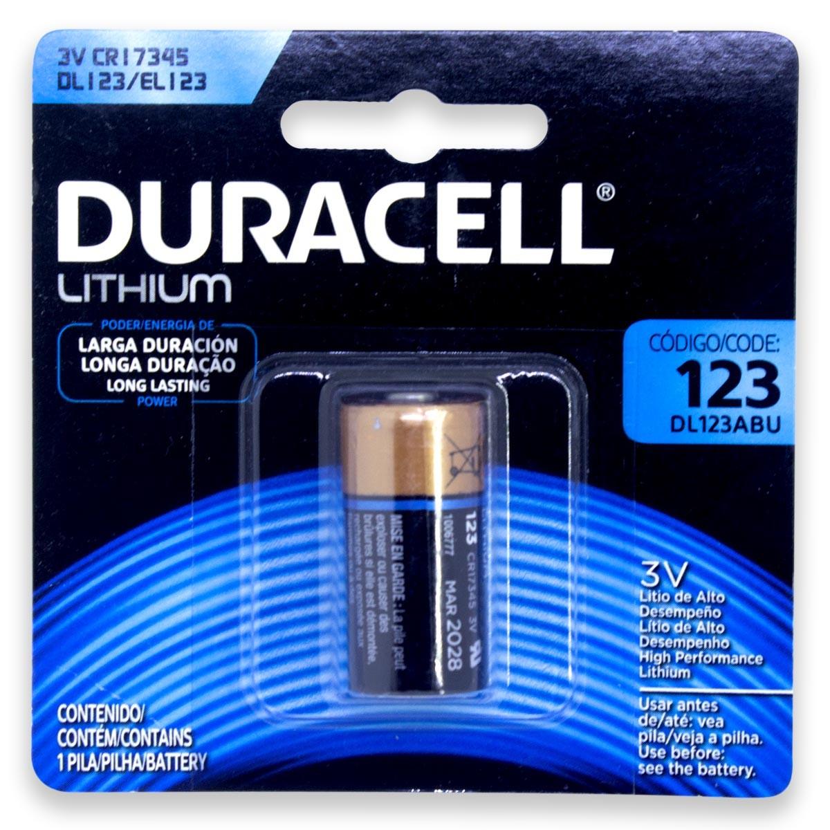 25 Pilhas Bateria CR123 DURACELL 25 cartelas