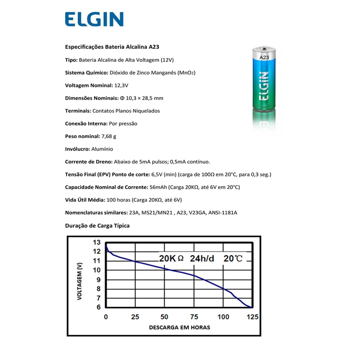 25 Pilhas Baterias ELGIN 23A 12V A23 Alcalina 5 cartelas