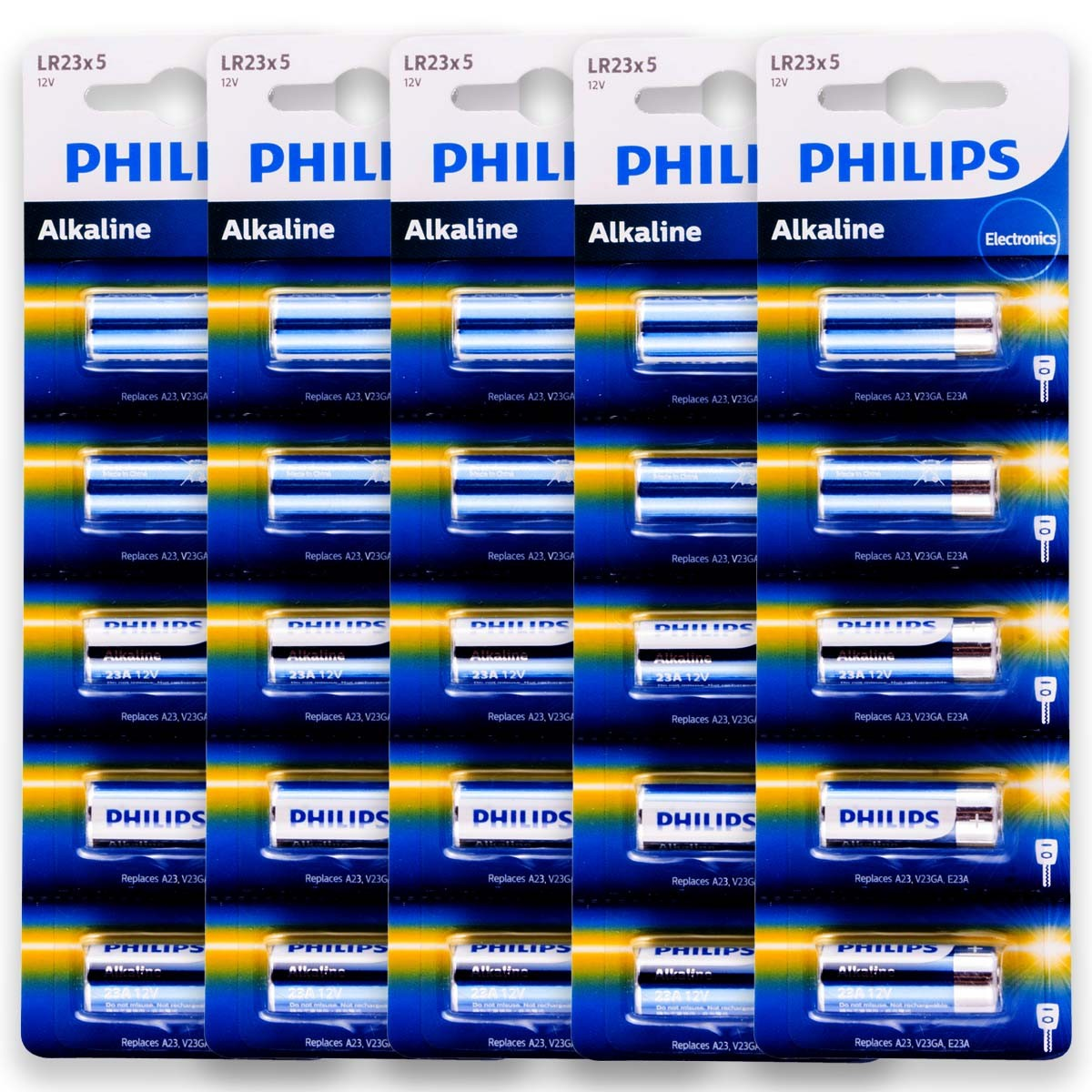 25 Pilhas Baterias PHILIPS 23A 12V A23 Alcalina 5 cartelas