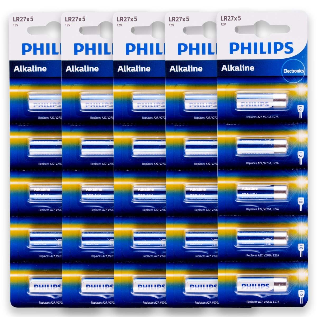 25 Pilhas Baterias PHILIPS 27A 12V A27 Alcalina 5 cartelas