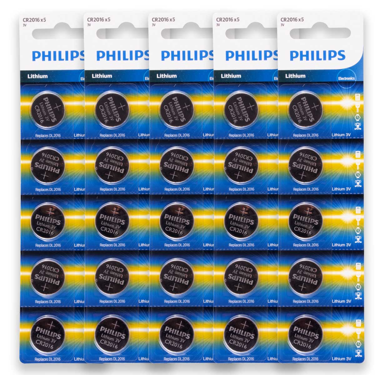 25 Pilhas PHILIPS CR2016 3v Bateria Original - 5 cartelas