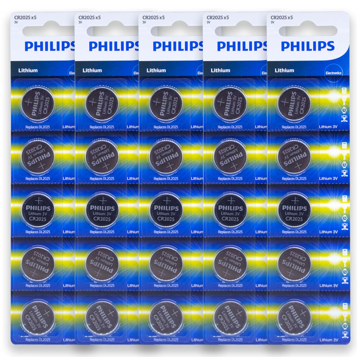 25 Pilhas PHILIPS CR2025 3v Bateria Original - 5 cartelas