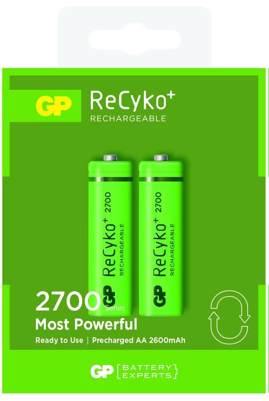 2 Pilha Bateria AA Recarregável 2700mAh GP Recycko 1 cartela
