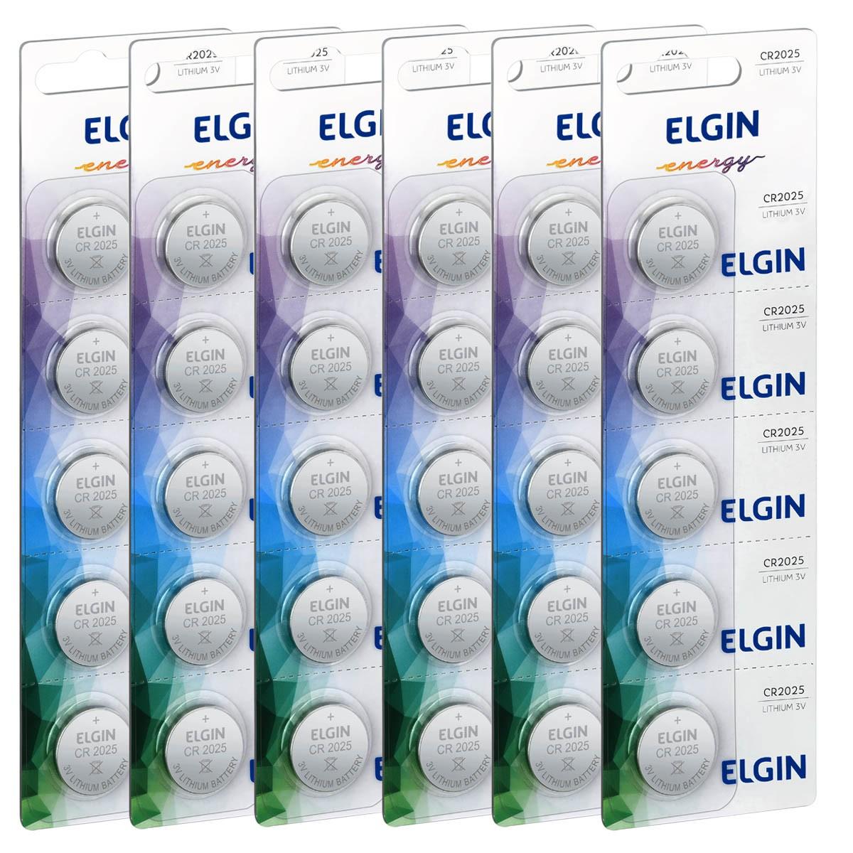 30 Baterias Pilhas Lithium 3V Elgin CR2025 6 cartela