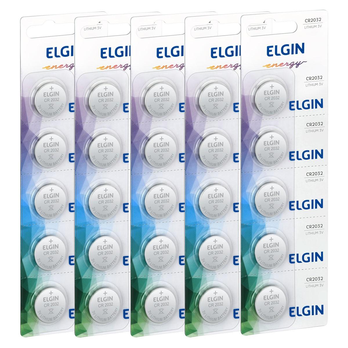 30 Baterias Pilhas Lithium 3V Elgin CR2032 6 cartela