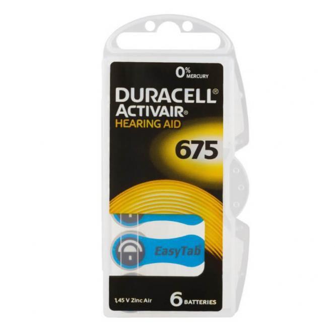 30 Pilhas Baterias DA 675 PR44 Aparelho Auditivo - Duracell