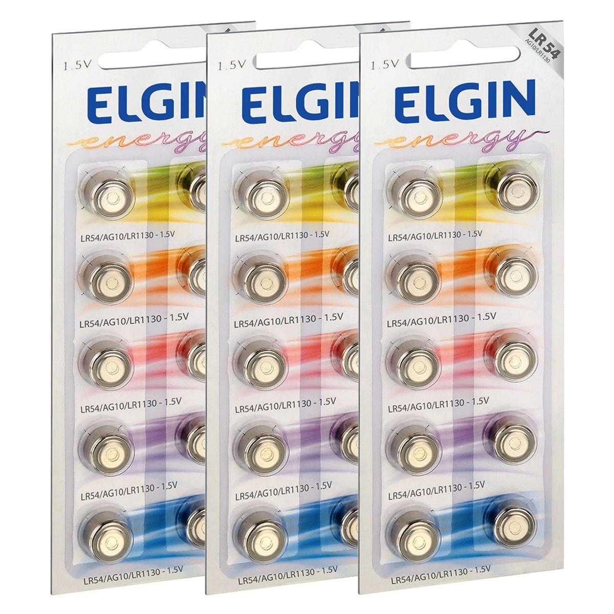 30 Pilhas Baterias LR1130 LR54 AG10 Alcalina ELGIN 3 cartela