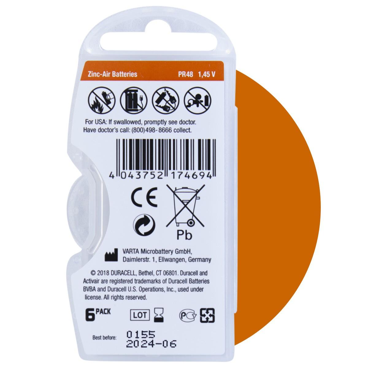 30 Pilhas DA13 DURACELL baterias PR48 Aparelho auditivo